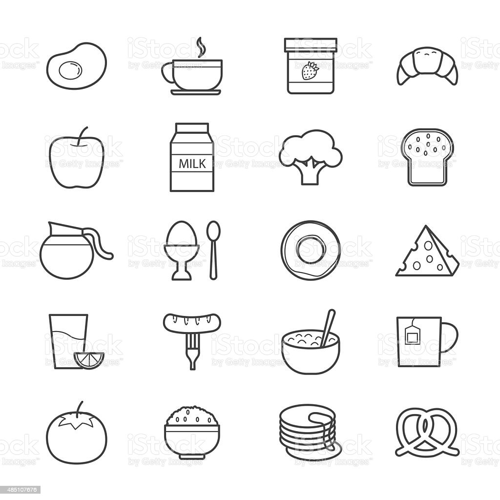 Breakfast Icons Line vector art illustration