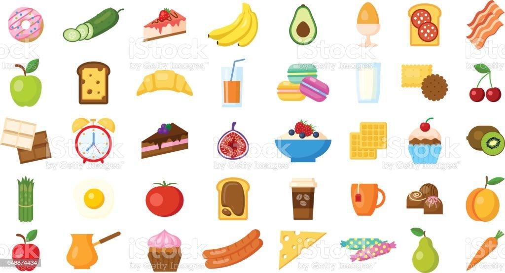 Breakfast icons set on white background. vector art illustration