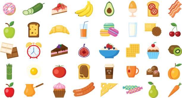 frühstück symbole setzen auf weißem hintergrund. - frühstück stock-grafiken, -clipart, -cartoons und -symbole