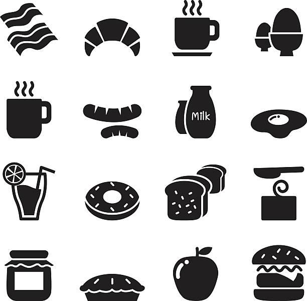 Breakfast icons set vector art illustration