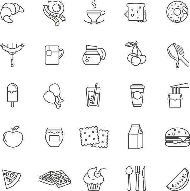 breakfast icons, stock vector set vector art illustration