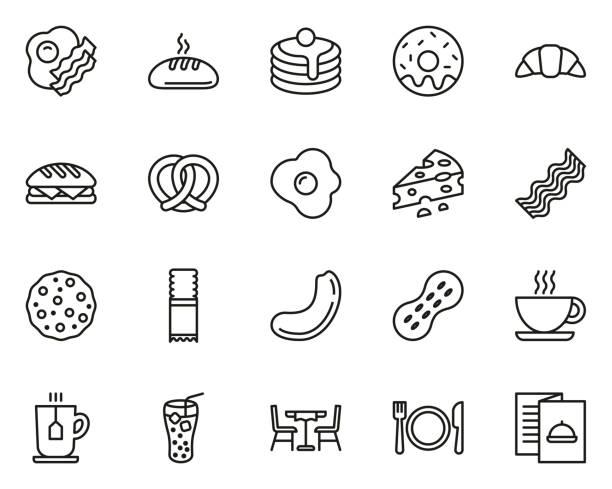stockillustraties, clipart, cartoons en iconen met ontbijt icons dunne lijn set groot - breakfast