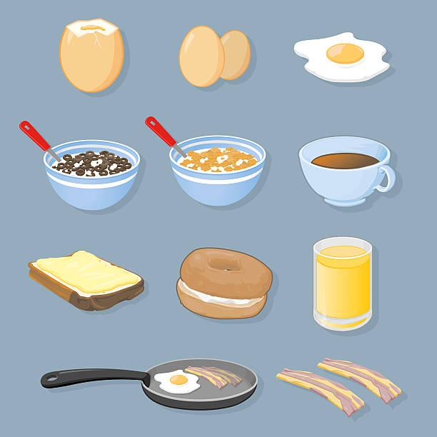 illustrazioni stock, clip art, cartoni animati e icone di tendenza di icone di colazione - corn flakes