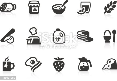 Simple breakfast related vector icons for your design and application. Files included: vector EPS, JPG, PNG.