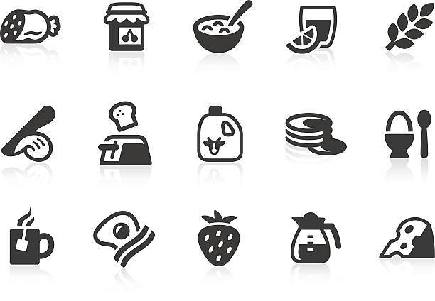 illustrations, cliparts, dessins animés et icônes de icônes de petit déjeuner - infusion pamplemousse
