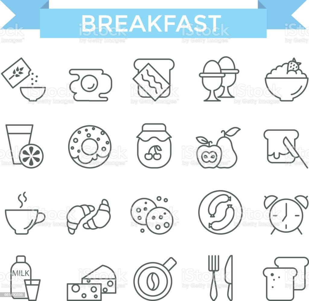 Breakfast icons. vector art illustration