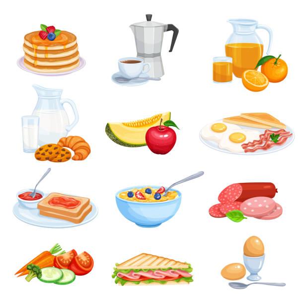 ilustraciones, imágenes clip art, dibujos animados e iconos de stock de iconos de desayuno - desayuno