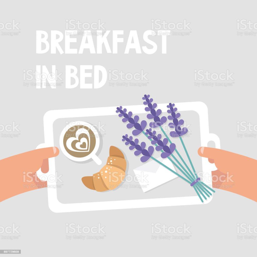 Fruhstuck Im Bett Pov Kaffee Croissant Und Einem Blumenstrauss
