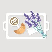 Breakfast in bed. Top view. Coffee, croissant and a bouquet of lavender flowers. Romantic relationships concept. Flat editable vector illustration, clip art