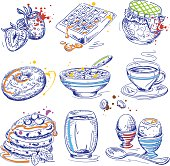 Hand drawn vector breakfast design elements in pen & ink style with color splashes.