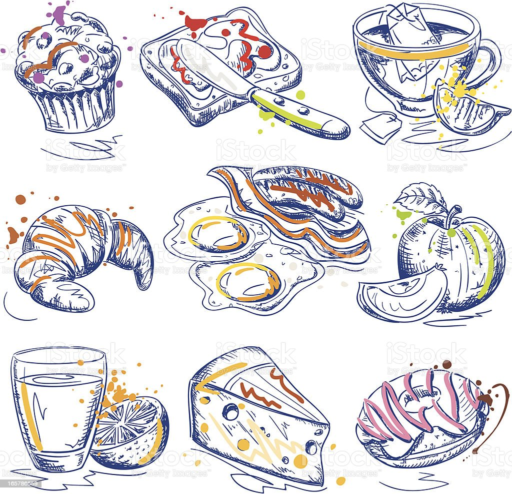 Breakfast Ink Sketches Set royalty-free stock vector art