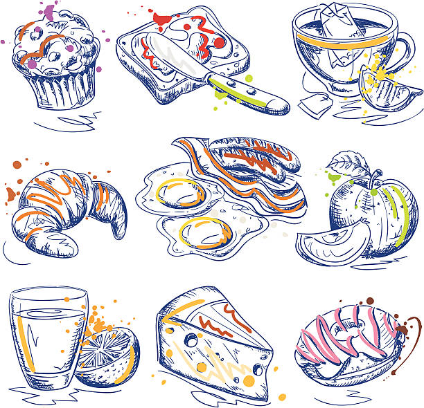 Breakfast Ink Sketches Set vector art illustration