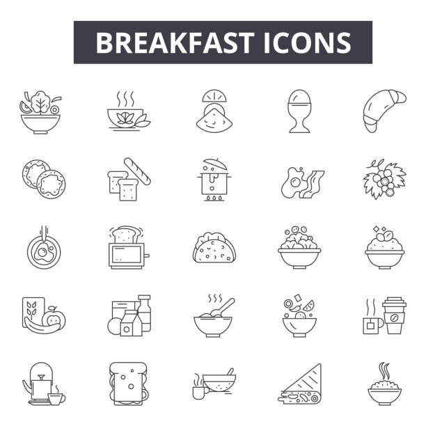 ilustrações de stock, clip art, desenhos animados e ícones de breakfast line icons for web and mobile design. editable stroke signs. breakfast  outline concept illustrations - aveia