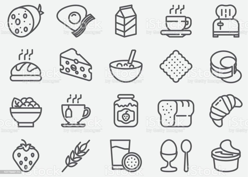 Frühstück Linie Symbole - Lizenzfrei Brotsorte Vektorgrafik