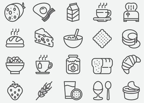 Frühstück Linie Symbole Stock Vektor Art und mehr Bilder von Brotsorte