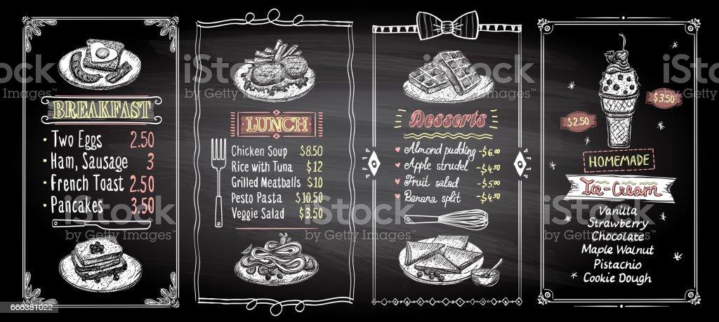 Breakfast, lunch, desserts and ice cream chalkboard menu list designs set vector art illustration
