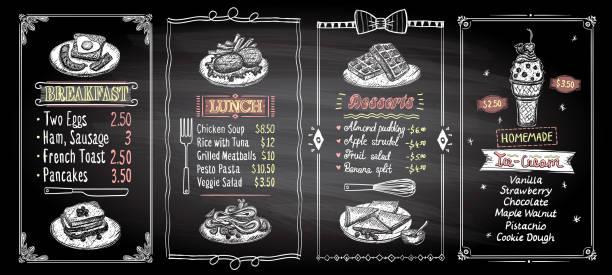 frühstück, mittagessen, desserts und eis tafel menüdesigns liste gesetzt - frühstück stock-grafiken, -clipart, -cartoons und -symbole