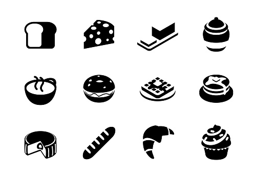 Breakfast meal vector icons set. Bread, butter, cheese, honey, tea, coffee cup, cupcake, pie, croissant isolated morning breakfast symbols collection