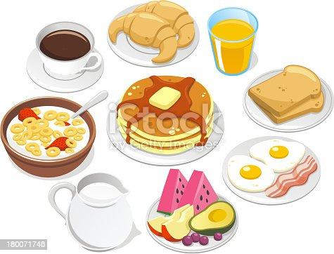 istock Breakfast Menu Coffee Croissant Pancake Cereal Milk Fruit Butter Syrup 180071748