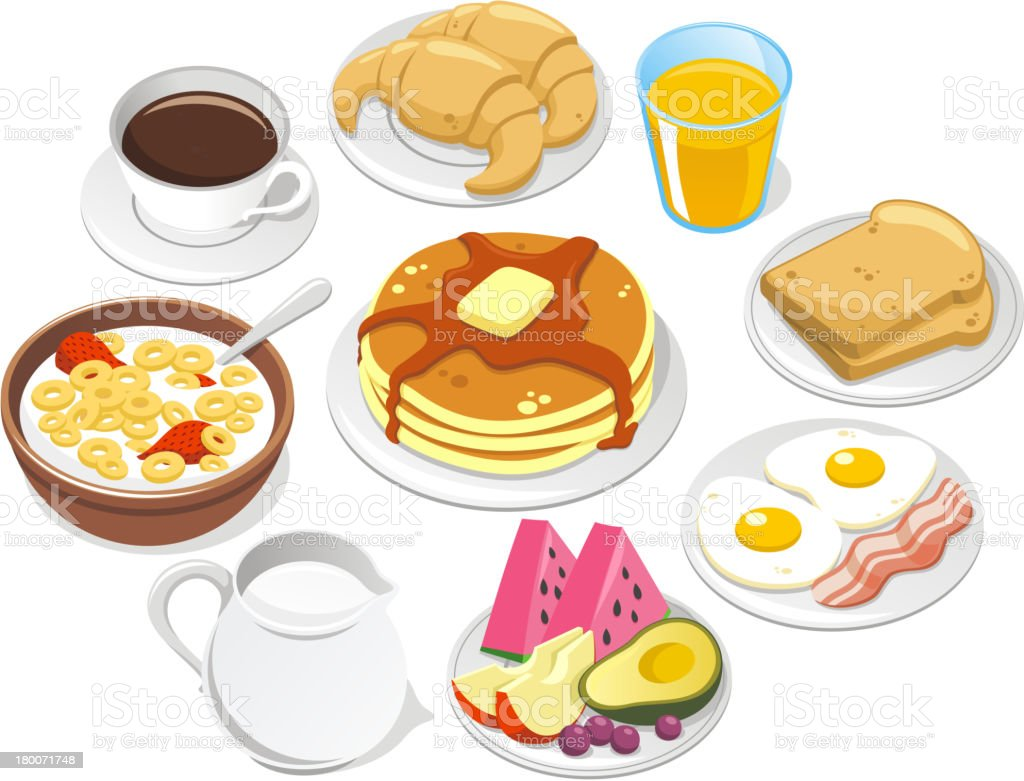 Breakfast Menu Coffee Croissant Pancake Cereal Milk Fruit Butter Syrup vector art illustration