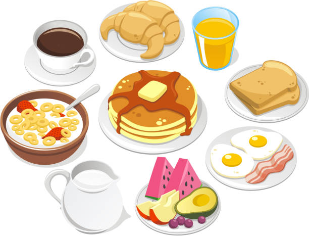stockillustraties, clipart, cartoons en iconen met breakfast menu coffee croissant pancake cereal milk fruit butter syrup - egg