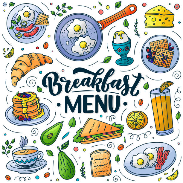 Breakfast menu design elements. Vector doodle illustration. Calligraphy lettering and traditional breakfast meal. Breakfast menu design elements. Vector doodle style illustration. Hand drawn calligraphy lettering and traditional breakfast meal. Egg, avocado, bacon, coffee icons. avocado borders stock illustrations