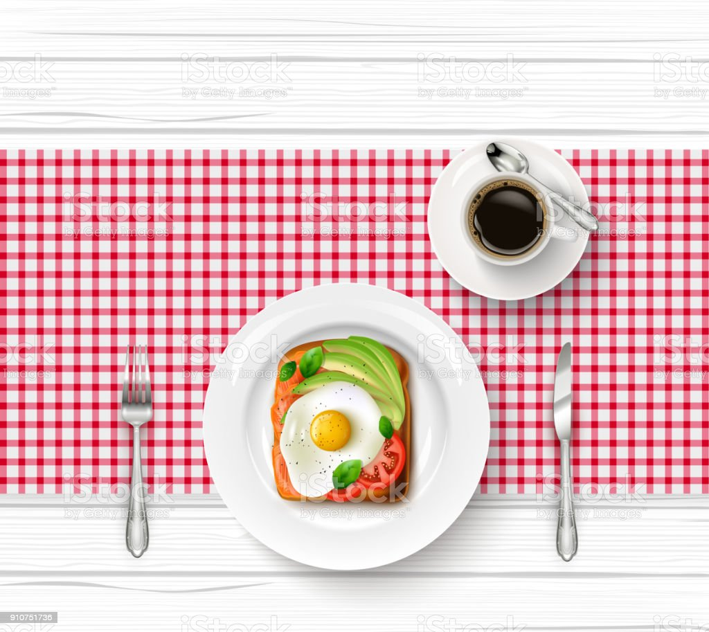 Breakfast menu with fried egg, toast and cup of black coffee on wooden table vector art illustration