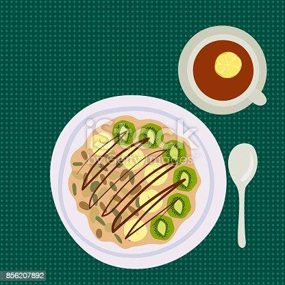 istock Breakfast oatmeal porridge with berries top view tasty gourmet delicious vegetarian fresh eating morning dessert vector illustration 856207892