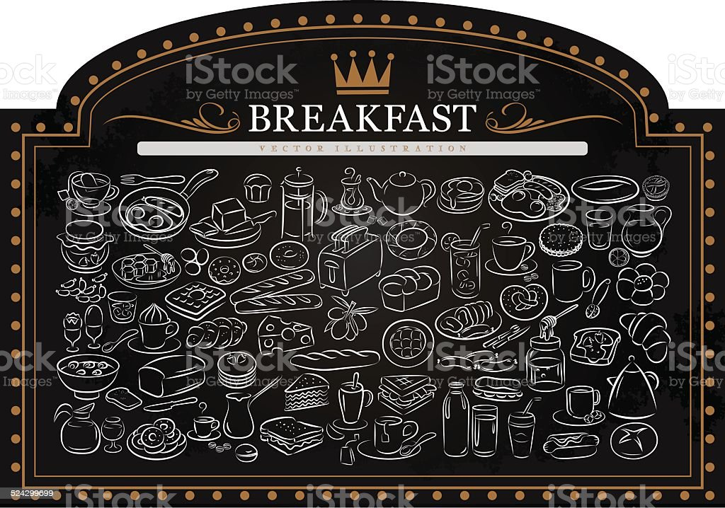 Breakfast on Blackboard vector art illustration