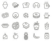 istock Breakfast Or Food Icons Thin Line Set Big 1197898172