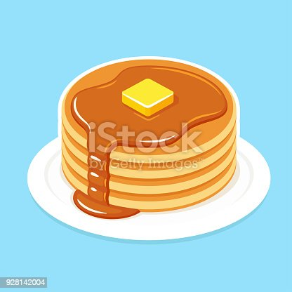 istock Breakfast pancakes illustration 928142004