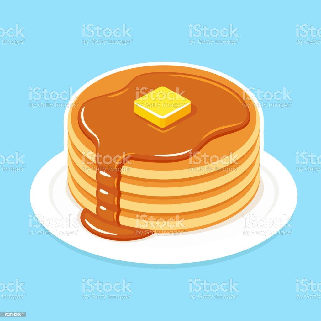 Breakfast pancakes illustration vector art illustration