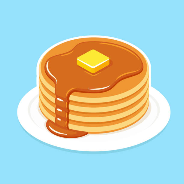 Breakfast pancakes illustration Buttermilk pancakes on plate with butter and honey or maple syrup. Traditional American breakfast food vector illustration. maple syrup stock illustrations