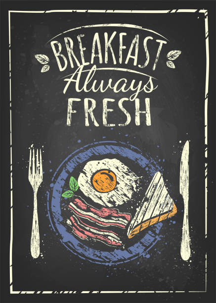 ilustraciones, imágenes clip art, dibujos animados e iconos de stock de póster de desayuno - desayuno