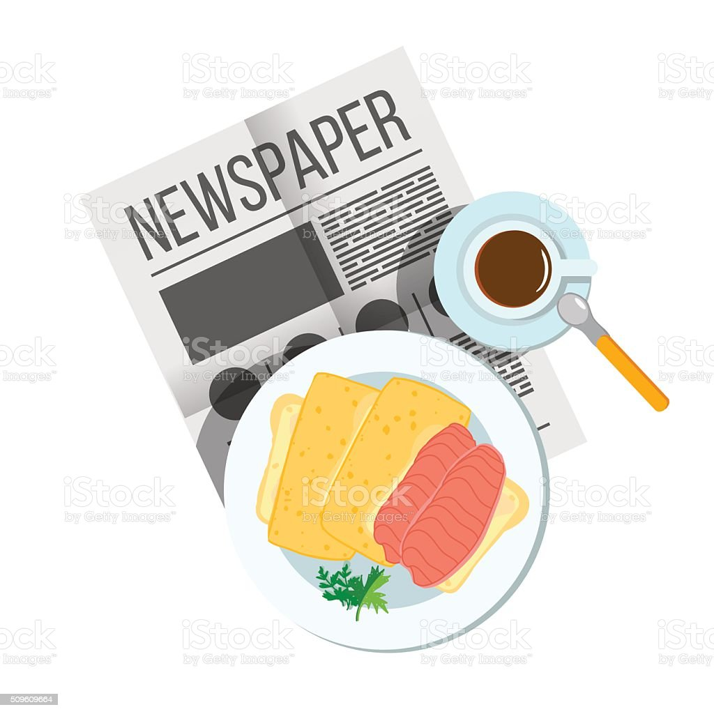 Breakfast sandwich with coffee top view. vector art illustration