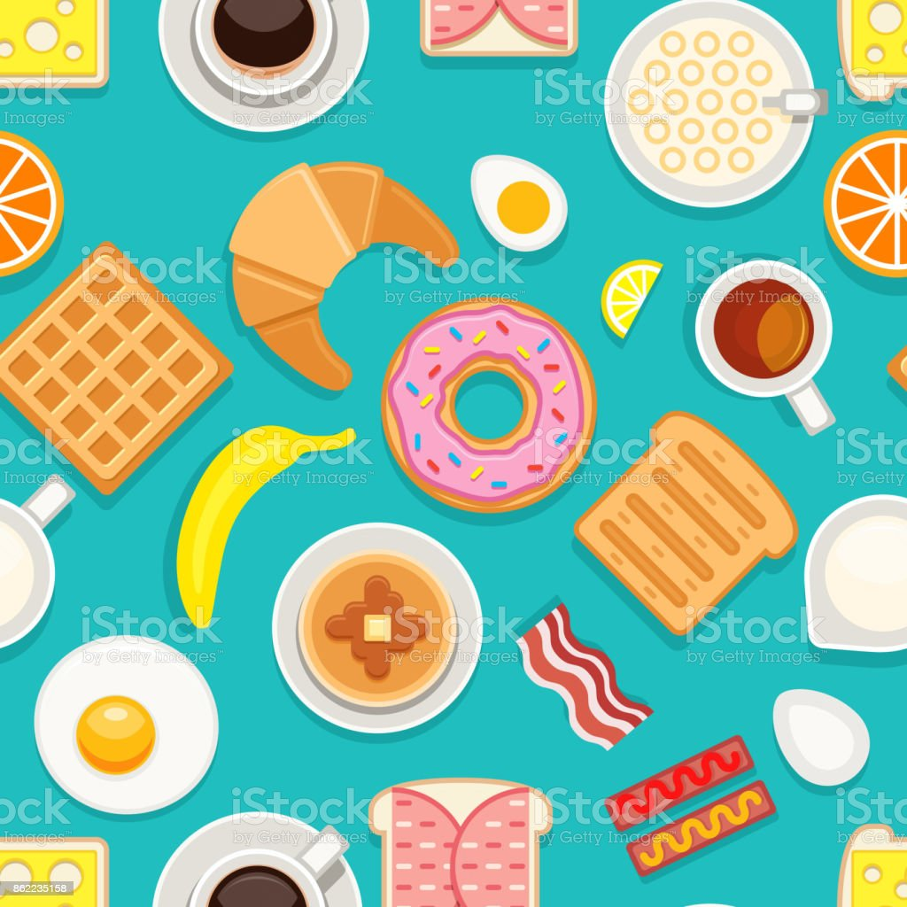 Breakfast seamless texture. Different meals and drinks colored on blue background. Vector cartoon style illustration vector art illustration