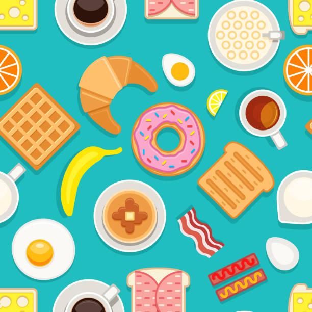 stockillustraties, clipart, cartoons en iconen met ontbijt naadloze textuur. verschillende maaltijden en drankjes gekleurd op blauwe achtergrond. vectorillustratie cartoon stijl - breakfast