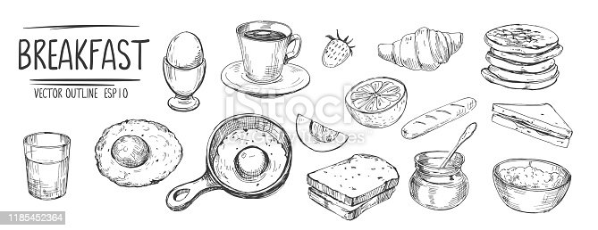 Breakfast set. Eggs, coffee, toasts, pancakes. Hand drawn sketch converted to vector
