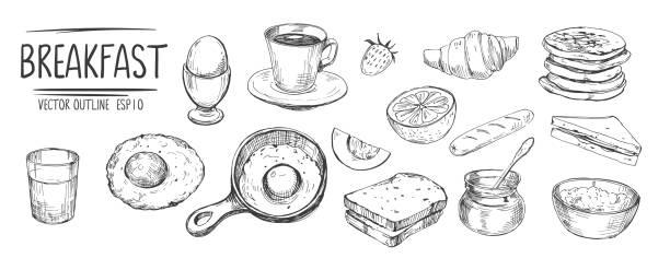 朝食セット。卵、コーヒー、トースト、パンケーキ。ベクトルに変換された手描きスケッチ - パンケーキ点のイラスト素材/クリップアート素材/マンガ素材/アイコン素材