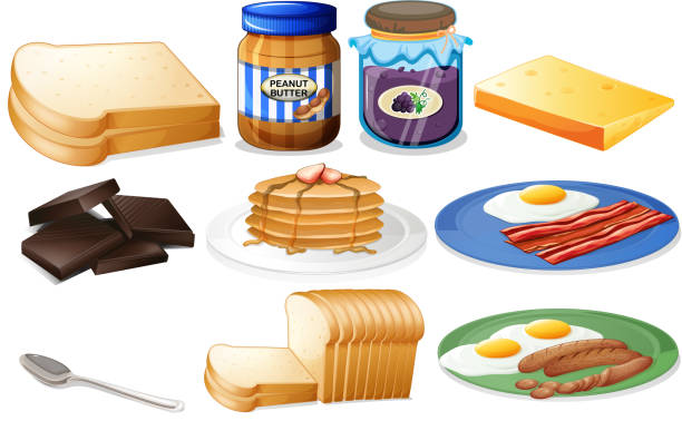 Breakfast set with bread and jam Breakfast set with bread and jam illustration bread clipart stock illustrations