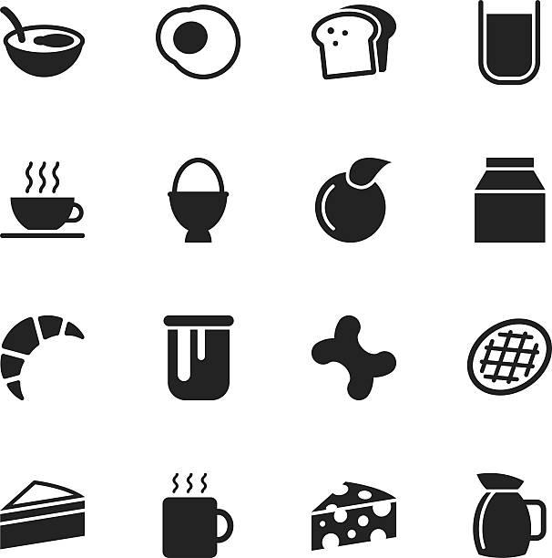 Breakfast Silhouette Icons Breakfast Silhouette Vector File Icons. bread silhouettes stock illustrations