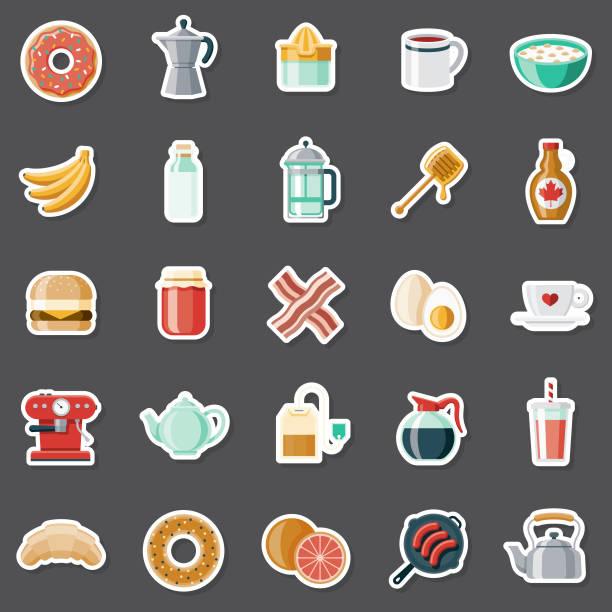illustrations, cliparts, dessins animés et icônes de ensemble d'autocollants de petit déjeuner - infusion pamplemousse