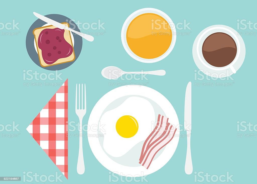 Breakfast Table Setting Two Stock Vector Art & More Images of Bacon ...