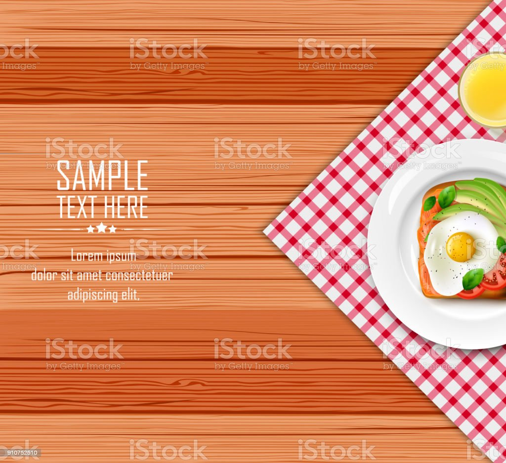 Breakfast table with fried eggs and toast on white plate vector art illustration