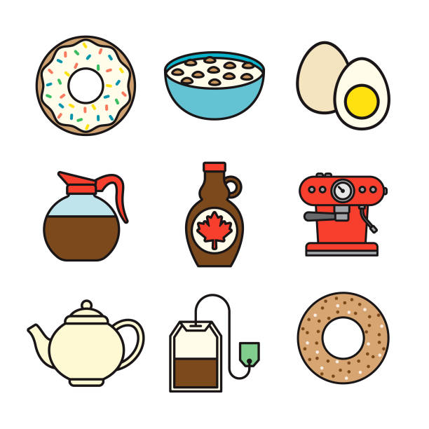 Breakfast Thin Line Icon Set A set of nine flat design thin line icons. Color swatches are global so it's easy to edit and change the colors. File is built in CMYK for optimal printing and the background is transparent (not white) so you can easily isolate and place the icons onto different colored backgrounds. maple syrup stock illustrations