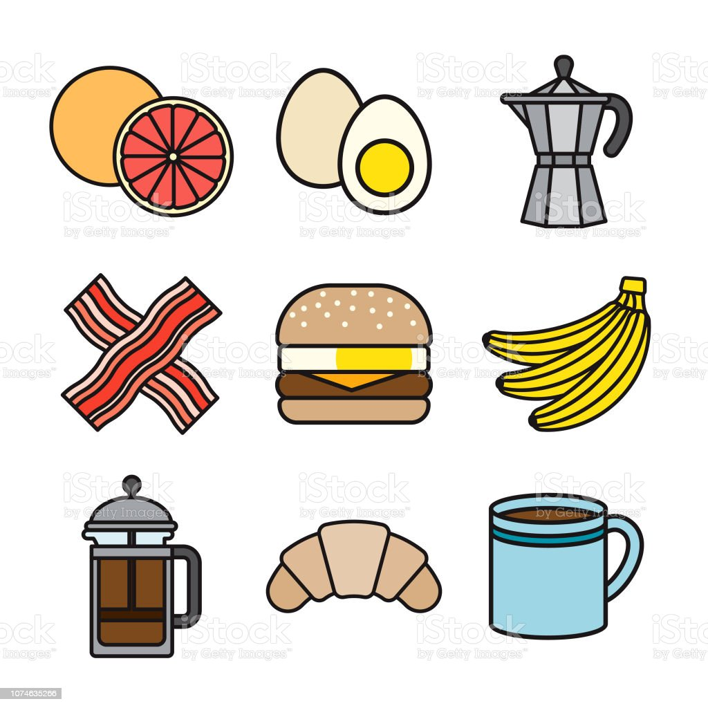 Breakfast Thin Line Icon Set vector art illustration