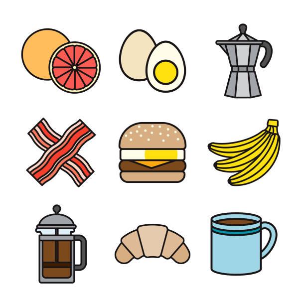 Breakfast Thin Line Icon Set vector art illustration