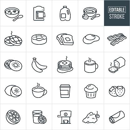 Breakfast Thin Line Icons - Editable Stroke