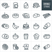 A set college breakfast items icons that include editable strokes or outlines using the EPS vector file. The icons include breakfast food items including a bowl of cereal, coffee, coffee maker, carton of milk, orange juice, bowl of strawberry yogurt, waffles, doughnut, toast, egg, bacon, bagel, bananas, pancakes, fresh baked bread, kiwi, fruit, tea, muffin, strawberries, grapefruit, orange, cappuccino, grapes and a breakfast burrito.