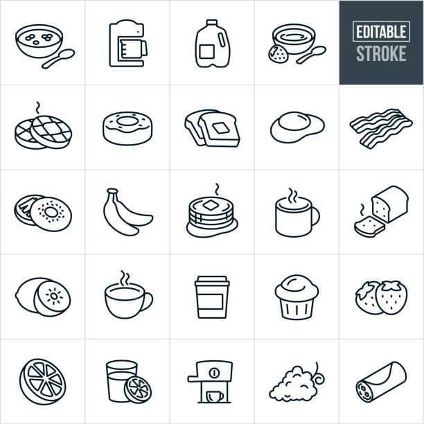ilustraciones, imágenes clip art, dibujos animados e iconos de stock de iconos de línea fina de desayuno - trazo editable - desayuno